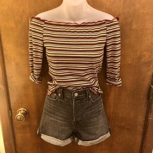 Striped off the shoulder ribbed tee. NWT medium
